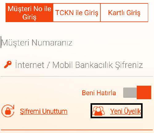 Albaraka mobil bankacılık şifre alma ekranı