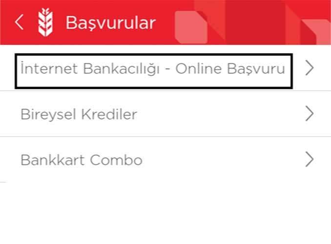 Ziraat İnternet Bankacılığı Başvuru Ekranı