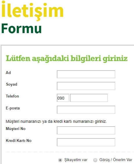 Garanti Bankası İletişim Formu