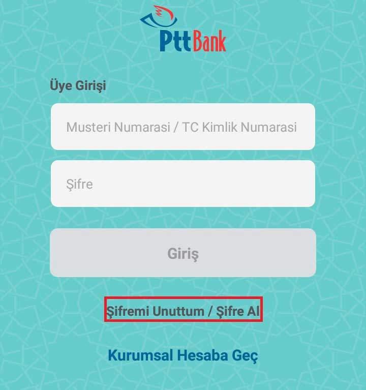PTT İnternet Bankacılığı Giriş