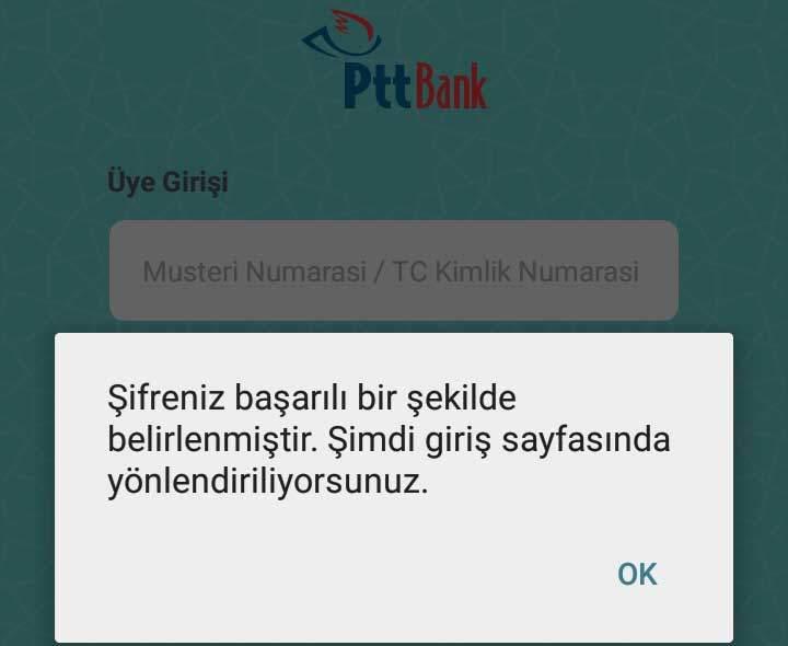 PTT Mobil Giriş Ekranına Yönlendirme