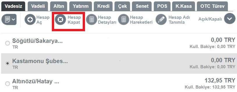 ziraat bankası internet bankacılığı vadesiz hesap kapatma