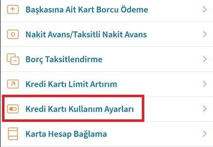 Halkbank Kredi Kartı Kullanım Ayarları