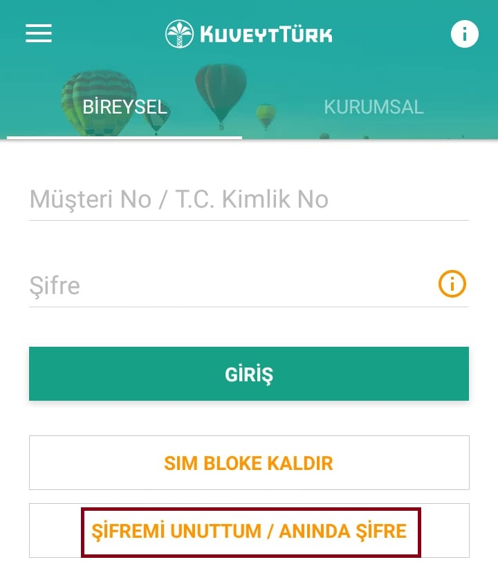 Kuveyt Türk mobil şube şifre alma