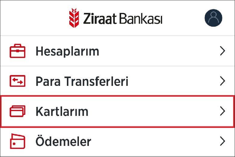 Ziraat Bankası Kartlar Sekmesi