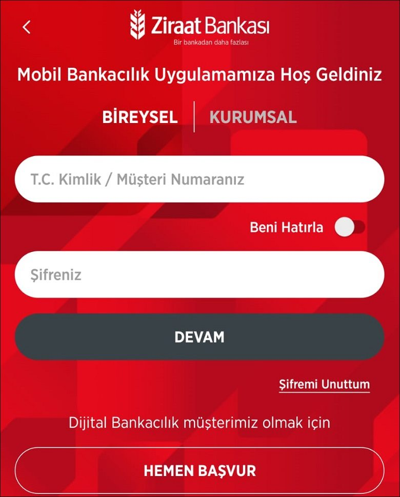 Ziraat Bankası Mobil Giriş Ekranı