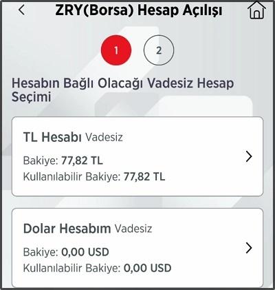 ZRY Borsa Hesap Açılışı Bağlı Hesap Seçimi